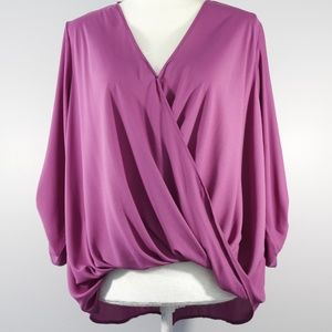 Lush Purple Faux-Wrap Blouse w/ Roll Up Sleeves M